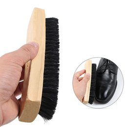 Práctico mango de madera cepillo de zapatos profesional brillo de zapatos polaco cepillo de pulir de madera negro cepillo de zapatos herramientas de limpieza del hogar desde fabricantes