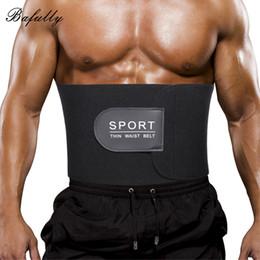Wholesale Thin Male Body - Bafully Males Modeling Strap Neoprene Body Shaper Slimming Belt Thin Waist Trainer Shapewear Men Abdomen Burner for Weight Loss