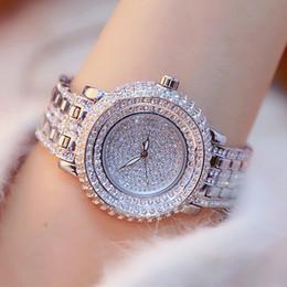volle kristallfrauenuhren Rabatt Super Luxus Volle Strass Frauen Uhren Mode Dame Gold Kleid Uhr Neue Weibliche Große Zifferblatt Kristall Armbanduhr reloj mujer C18111301
