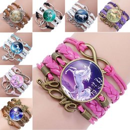 Wholesale glass charm beads - Infinity Unicorn Bracelet Love Charm Pegasus Unicorn Glass Cabochon Multilayer Wrap Bracelet Wrist Bangle Cuffs Fashion Jewelry 320026