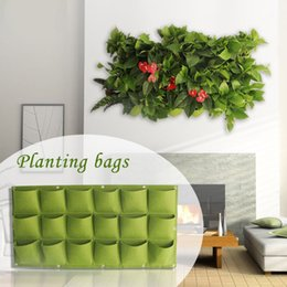 Wholesale vertical mount - 18 Pockets Hanging Flower Pots Wall-mounted Vertical Planter Gardening Non woven Fabric Green Plants Bags NNA172