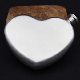 Wholesale russia silver - 4.4oz Heart Deisgn Outdoor Portable Hip Flasks Food Grade Stainless steel Drinkware Russia Small Wine Bottle NNA391