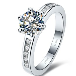 Сплошные полосы белого золота онлайн-Оптовая классический обручальное кольцо твердые серебряные кольца белое золото покрытием 1ct синтетический алмаз кольца для невесты не исчезают высокое качество