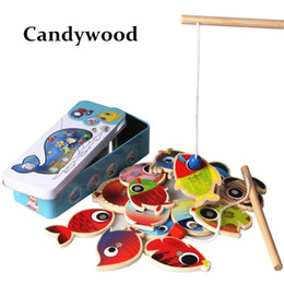 Wholesale wooden fishing game - 14 Fishes + 2 Fishing Rods Wooden Children Toys Fish Magnetic Pesca Play Fishing Game Tin Box Kids Educational Toy Boy girl