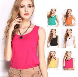Wholesale candies vest - New Women Summer Candy shirt, chiffon shirt, sash bottoming shirt, chiffon vest, sleeveless, sleeveless vest home clothing 1035