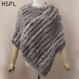 Wholesale brown white rabbit - HSPL Fur Poncho 2017 Autumn Real Rabbit Hot Sale Triangle Knitted Women Pullover Lady Pashmina Wrap poncho pele de coelho