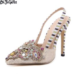 Rhinestone Decoration Pointed Toe Women Shoes Fashion Thin Heel Wedding Shoes  Women Casual Party High Heels Shoes 3b462a649692