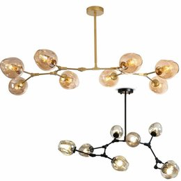 Wholesale office lighting incandescent - Lindsey Adelman globe glass pendant lamp Branching Bubble Modern Chandelier Light for kitchen cafe cloth shop 3 5 7 8 9 11 Heads