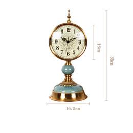 Wholesale Vintage Metal Tables - Decorative Retro Table Desktop Clocks Living Room Bedroom Vintage Clock Nostalgic Ornaments Table Desktop Minimalist Watches