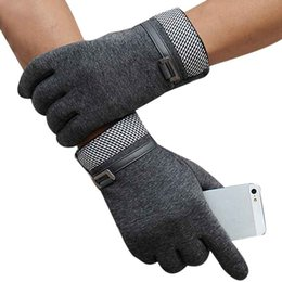 Wholesale Mens Sports Gloves - Fashion Mens Leather Driving Gloves Screen Winter Outdoor Sport Warm Glove Cotton Patchwork Motocycle Mitaine #OR