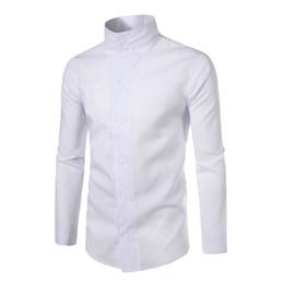 2019 camisas delgadas para hombre de cuello alto Marca 2017 Moda Hombre Camisa de manga larga Tops Personalidad Cuello alto Color sólido Camisas de vestir para hombre Camisa delgada de los hombres camisas delgadas para hombre de cuello alto baratos