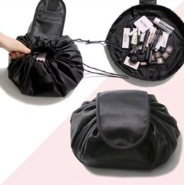 Wholesale large cosmetic pouch - 4 Colors Lazy Drawstring Cosmetic Bag Large Capacity Travel Portable Lazy Cosmetic Bags Cartoon Make Up Pouch CCA8954 20pcs