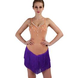 Quasten tanzen lateinisch online-lila Latin Dance Kleid sexy Frauen Latin Dance Kostüme ärmellos sexy Ballsaal Salsa Cha Cha Rumba Tassel Firnge Kleid