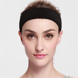 Wholesale Black Head Sweatband - NEW Cotton Women Men Sport Sweat Sweatband Headband Yoga Gym Stretch Head Band Hair Free Shipping