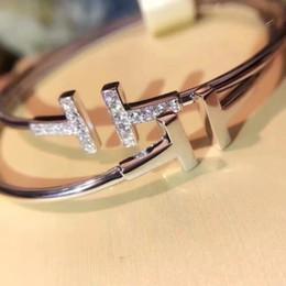 doppeltes armband Rabatt S925 reiner silberner Punk öffnete Armband mit doppeltem T und Diamant für Frauenschmucksachegeschenkhochzeit Freies Verschiffen PS6392