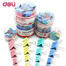 Wholesale paper filing clips - Deli wholesale 6 size 4 color metal binder clip for paper quanlity clips for office file organizer school stationery supplies