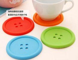Alta qualidade Bonito Colorido Silicone Botão Coaster Cup Titular Almofada Drink Placemat Mat Casa 100 pcs de