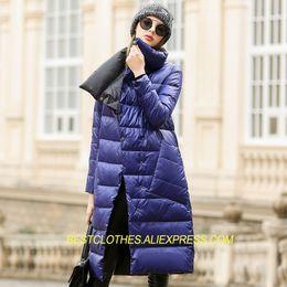 2019 chaqueta chaqueta Señoras europeas Chaquetas Largas Parkas de dos lados Mujeres Cálido Outwear Goose Down Jacket Slim Costume Doble Abrigo Mujer Abrigos D81 rebajas chaqueta chaqueta