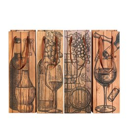 Argentina Bolsa de botella de vino rojo cuadrada Marrón Resuable Bolsas de almacenamiento de papel con cuerda de elevación Espesar Bolsa de asas Venta caliente SN1762 Suministro