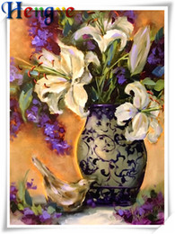 Wholesale lily canvas paintings - Mosaic home decor gift flower lily vase 5D diy diamond painting cross stitch kit rhinestone full round&square diamond embroidery y2392