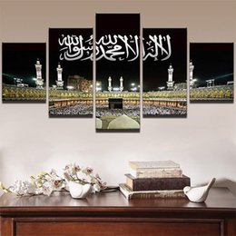 Wholesale Pictures Painted Homes - LARGE 5 Panels Art Canvas Print Islamic Mosque Castle Art Wall home Decor interior (No Frame)