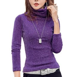 Wholesale Thick Warm Long Sleeve Shirts - New Blinking Tshirt Women Shiny Turtleneck T-shirts For Winter Fashion Long-sleeve Warm T Shirt Female Thick T-shirt