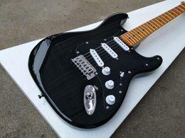 Custom Shop David Gilmour Strat noir ST Guitare électrique 3 plis tout noir Pickguard, peinture jaune brillant cou manche, un arbre de chaîne ? partir de fabricateur