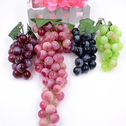 Wholesale Real Fruits - Wholesale-18-84heads Real Touch Artificial Red Green Black Grape Fruit For Home Wedding Kid Cognitive Toy Dining Table Kitchen Decoration
