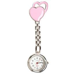 Enfermera mira clips online-Nurse Watch reloj de cuarzo, mujer, clip doble corazón, reloj de bolsillo