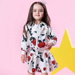 Wholesale Girl Rose Coat - Girls Clothing Rose Floral Dress Sets 2018 Fashion Girls Clothes Long Sleeve Floral Top Coats + Skirts 2 Pcs Kids Suits for 2Y-9Y