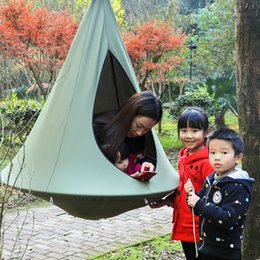 Wholesale Hanging Swings Chairs - Indoor Outdoor Children Hanging Chair Seat Cotton Nest With Inflatable Cushion Garden Baby Kids Swing Sleeping Bag Pod Hammock