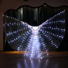 Argentina Para mujer Luz blanca Danza del vientre Alas de LED Bailarines de mariposas Vestidos Baile oriental de danza oriental Accesorio Lite supplier dancers led costume Suministro