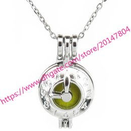 Wholesale clock locket necklaces - K600 Silver 27mm Tools Time Clock Beads Cage Steel Necklace 18""