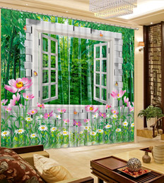 Wholesale Green Blackout Curtains - 2018 3D Curtain Green water plants Curtains For Bedroom Modern Blackout Curtains For Living room Window Decoration