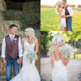 Wholesale Full Tulle Wedding Skirt - 2018 Country Style Wedding Dresses With Detachable Skirt Full Lace Mermaid Wedding Gowns Sweetheart Backless boho Bridal Dress Plus Size