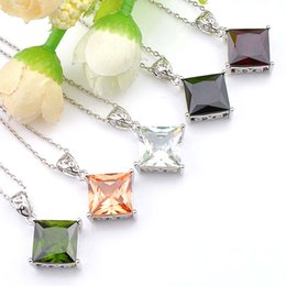 Wholesale Gif Chain - Top Quality Luckyshine 5PCS Lot Love Honey Fire Colored Mystic Topaz Gemstone 925 Silver Geometric Pendant Trendy Party Holiday Jewelry Gif