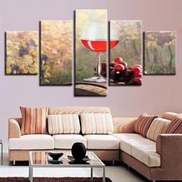 Wholesale modern wine abstract art canvas - Modern Canvas Pictures Poster Modular HD Prints Wall Art 5 Pieces Grapes Red Wine Landscape Painting Decor Living Room Framework