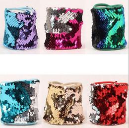 Wholesale Glitter Cuff Bracelet - Mermaid Sequin Bracelet Magic Sequin Wristband Bangle Personalized Glitter Bangle Cuff Wristband Women Charm Gifts 11 Colors OOA3983