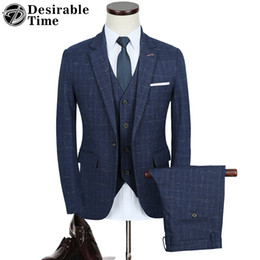 Wholesale Natural Time - Desirable Time Mens Slim Fit Navy Blue and Black Suits with Pants New Arrival Business Party Brand Suit Men DT135