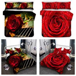 Deutschland Bettwäsche Valentinstag Rosen 3-teilige Bettwäsche-Set: Bettbezug und Kissen Shams (alle Größe) Versorgung