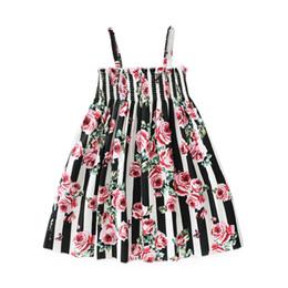 Wholesale Rose Print Skirt - girls dress 2018 INS hot styles New summer girl kids cute striped Rose printed short sleeved princess skirt 2 styles free shipping