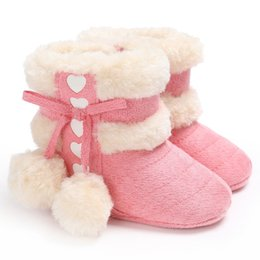 Wholesale Toddler Fashion Boots Brown - Fashion Super Warm Winter Baby Snow Boots 0-18 months Infant Shoes Girls Antiskid Keep Warm Baby Toddler Boots Shoes