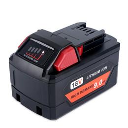 Lithium-batteriewechsel online-9000mAh 18V RED Lithium Batterie 48-11-1890 Ersatz für 18V Milwaukee M18 Batterie 9.0Ah hohe Nachfrage 5X schwere Anwendungen Batterie
