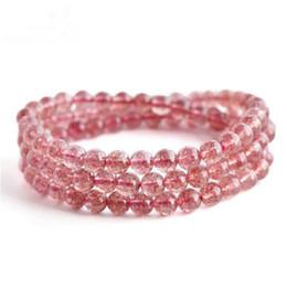 Кварцевые капли онлайн-Genuine Red Strawberry Quartz Crystal Stone Bracelet Three Circles Round  Fashion Women Drop Shipping Crystal Bracelet 5mm