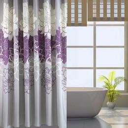 Tende grigie online-Tessuto per tende da doccia stampato floreale, tende da bagno impermeabili non più muffe con anelli liberi, viola / grigio