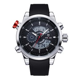 Wholesale Multifunction Quartz Movement - WEIDE Sport Multifunction Stopwatch Digital Analog Date Watches Men Original Quartz LCD Digital Movement Dual Time Zones Display