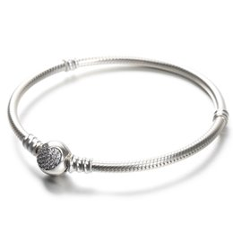 love boxes Promo Codes - 100% 925 Sterling Silver Womens Bracelets White CZ Micro Paved Heart Bracelet with box for Pandora beads European Charms