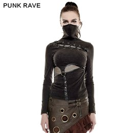 Wholesale Knitted Tee Shirt - PUNK RAVE Steampunk High Collar Mask Woman T-shirts Stretch Knit Stitching Elastic Mesh Fabric Black Tops Punk Rock Tees Gothic