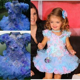 Wholesale junior high pageant dresses - Luxury Mint Flower Girls Dresses Baby Infant Toddler Kids Dress Juniors For Wedding Pageant Tulle Gowns