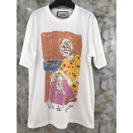 Projetos novos do tshirt on-line-Novo Design Da Marca Dos Desenhos Animados Menina de impressão mulheres homens tshirt verão o-pescoço camiseta algodão mulheres coleção jardim tees